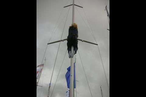 Emily's 'Bridget Jones moment' sliding down the mast
